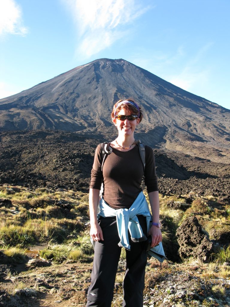Nora at the base of Mount Doom in New Zealand