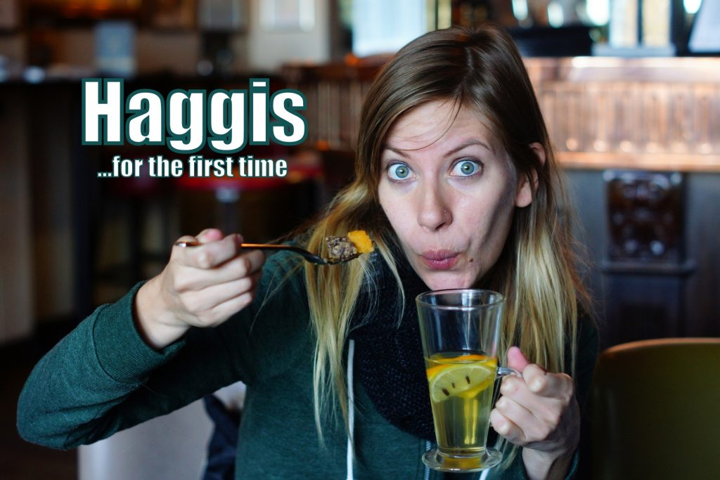 Eating Haggis, neeps and tatties for the first time