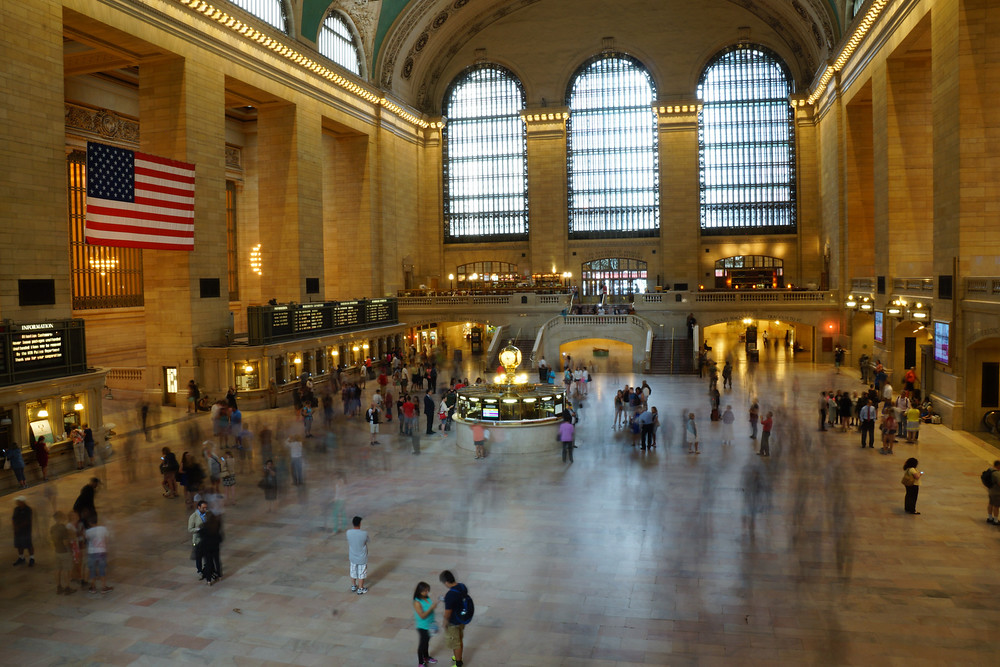 People walking around in Grand Central Terminal in New York City