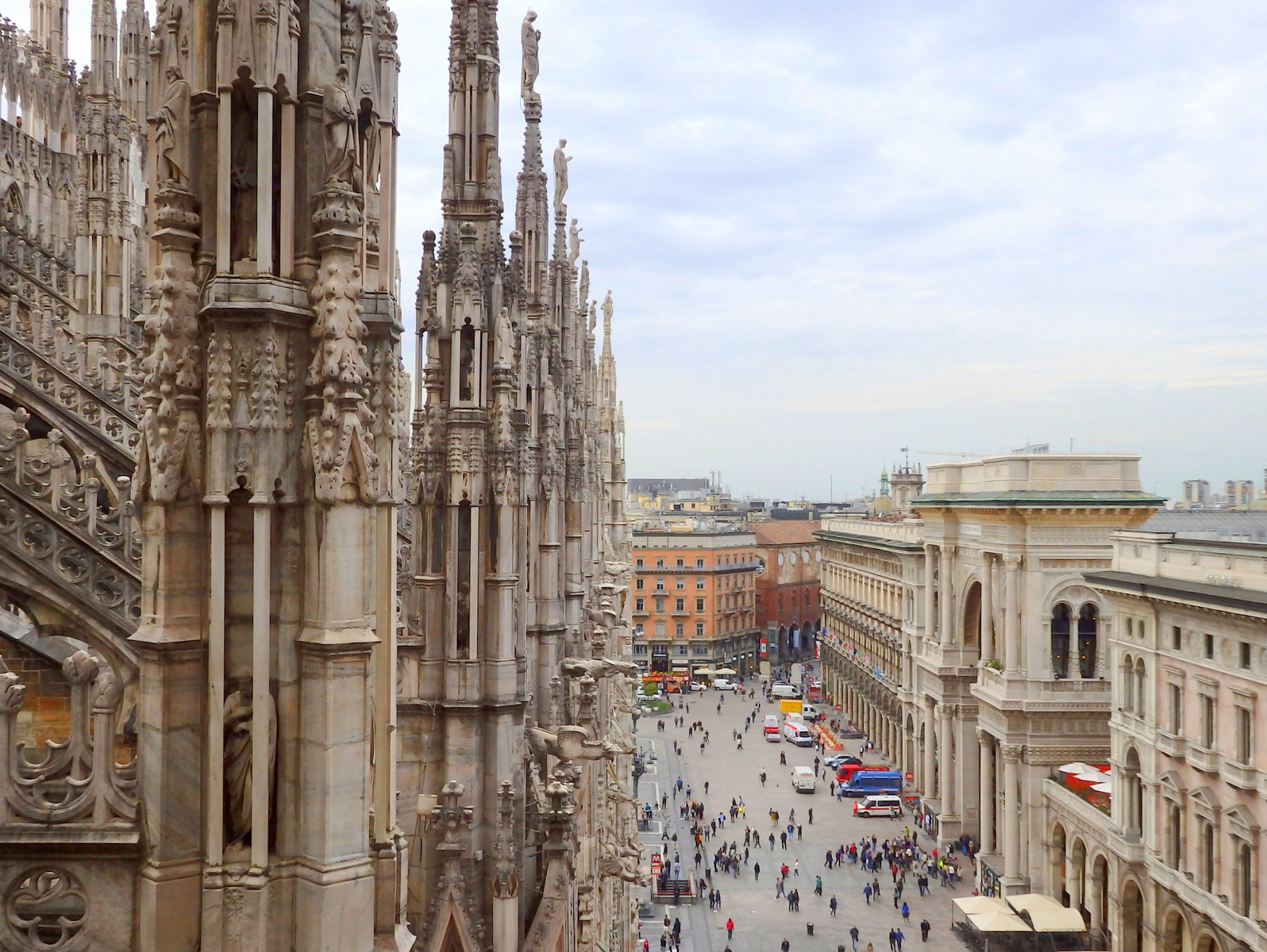 Views of Milan, Italy from high atop Il Duomo Cathedral Terrace