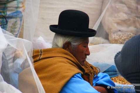 Markets of La Paz, Bolivia - lady wearing a bowler hat