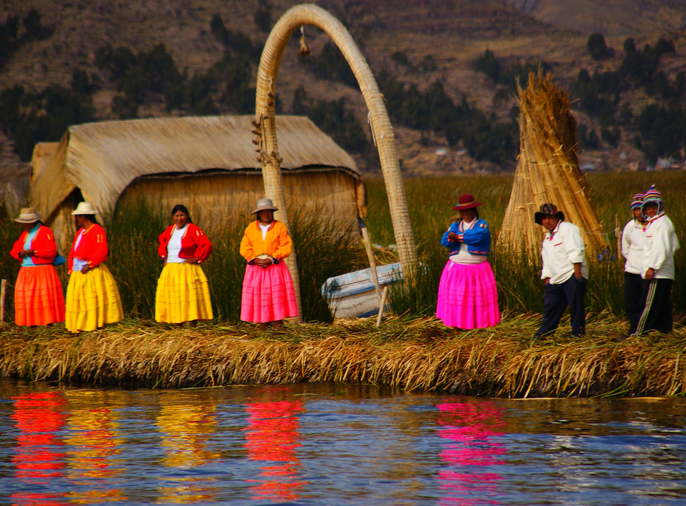 The colorful and vibrant Uros People of Lake Titicaca, Puno, Peru