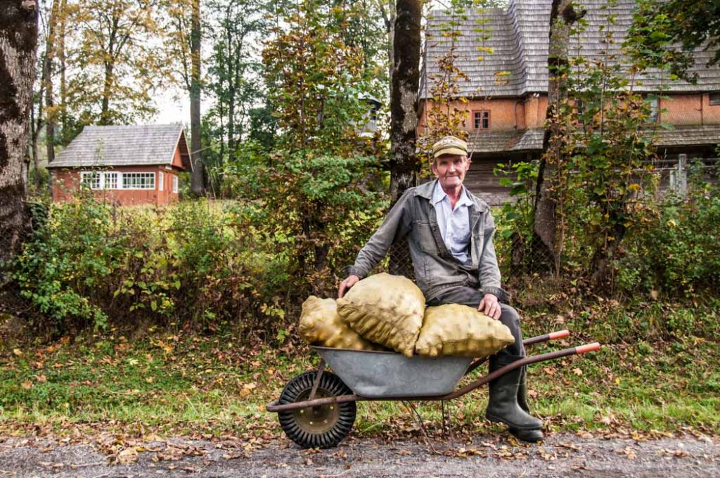 Mykhaylo, a local in Kolochava, Ukraine was on the way home from the field where he collected apples to store for a harsh winter in the mountains. He was over 80 years old, yet blessed with a witty smile and full of jokes.