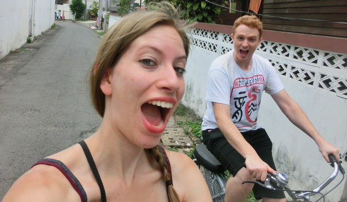 Riding a bicycle in Chiang Mai, Thailand