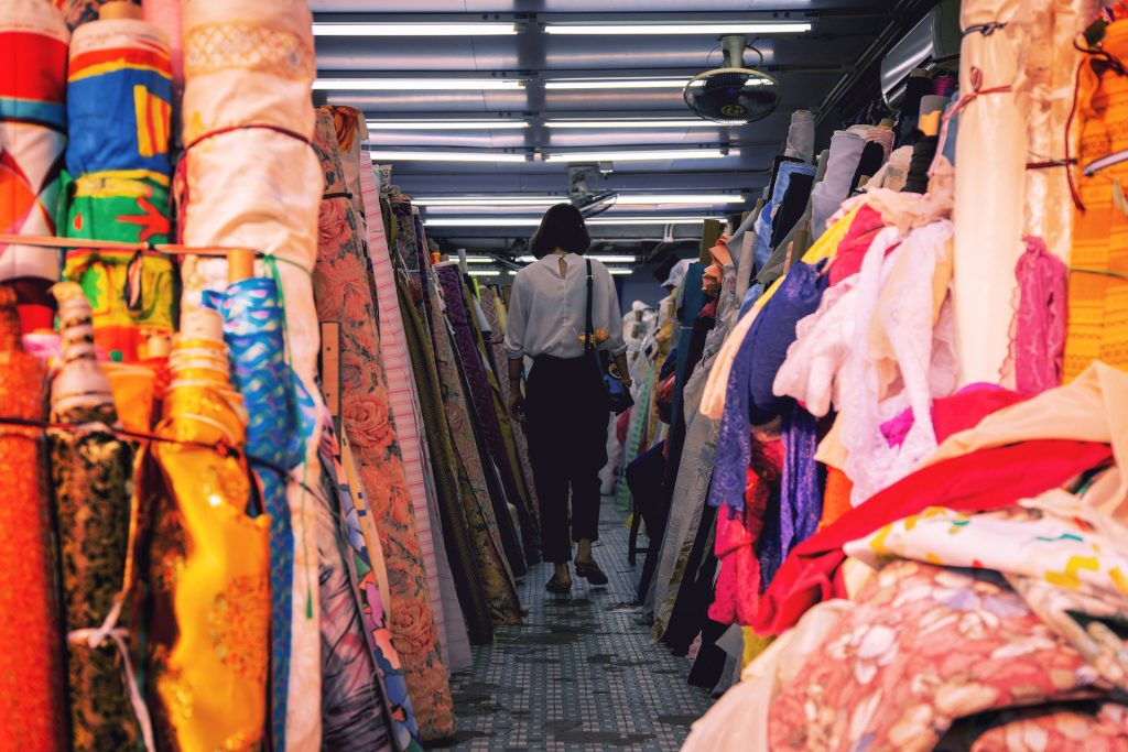 Shopping for fabric in Sham Shui Po