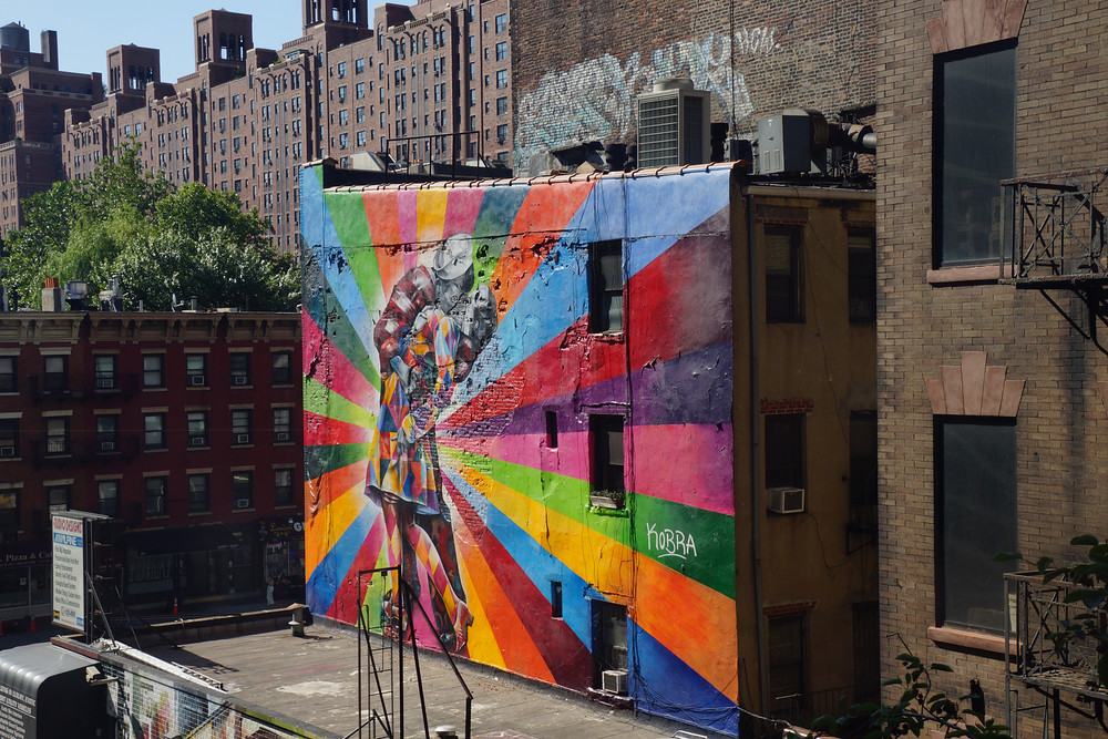 Colorful graffiti during a walk along the High Line in New York City, America