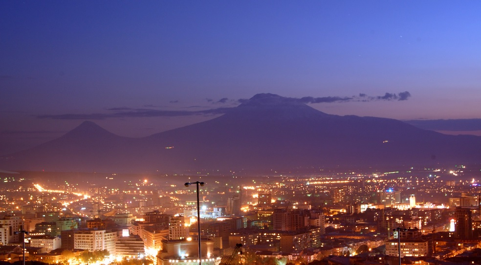 Evening view of Yerevan, Armenia by CC user znersessian on Flickr