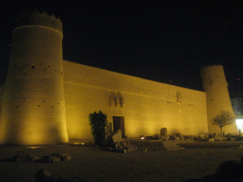 Masmak fortress at night by CC user erussell1984 on Flickr